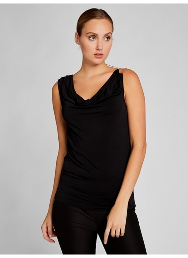 Vekem-Limited Edition Omuzdan Zincir Detaylı Bluz Siyah